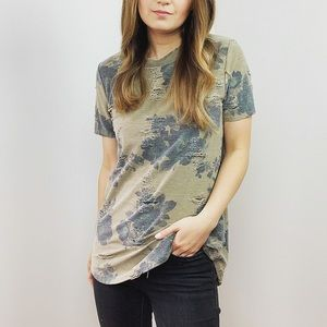 Distressed Floral Camo Graphic Top